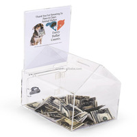 Clear Dog House Shaped Plastic Donation Box