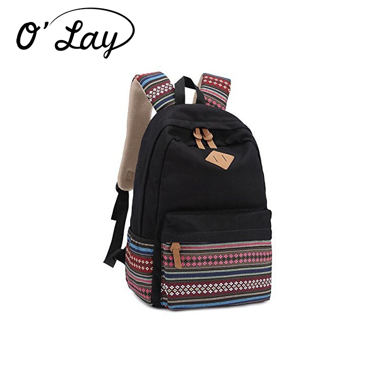High quality floral canvas backpack teenager school bag ecole sac a dos