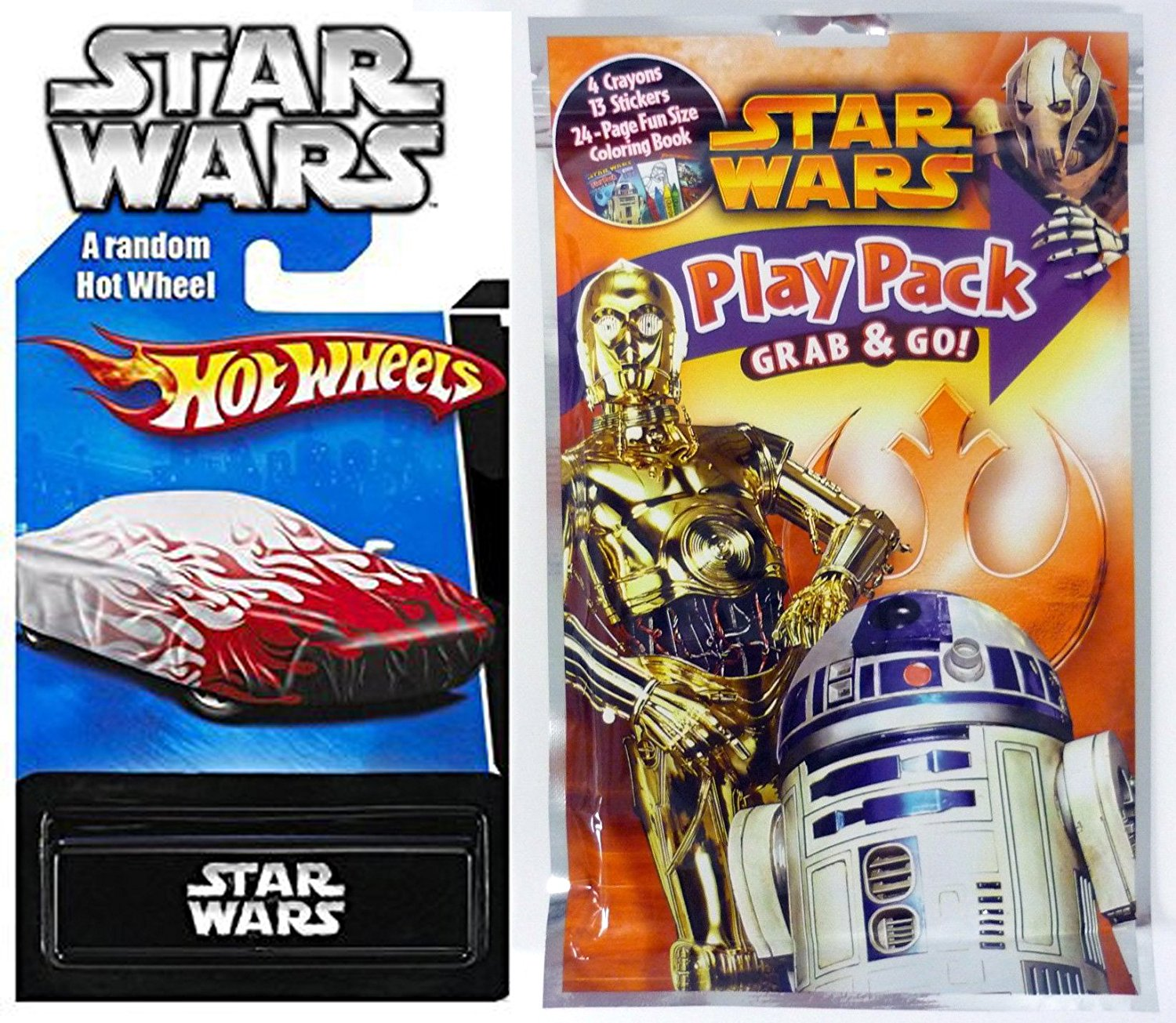 Star Wars R2D2 - C3P0 Play Pack Fun & Hot Wheels Exclusive Car - Coloring Book, Crayons, Stickers Party Hot Wheel Star Wars Car fun set