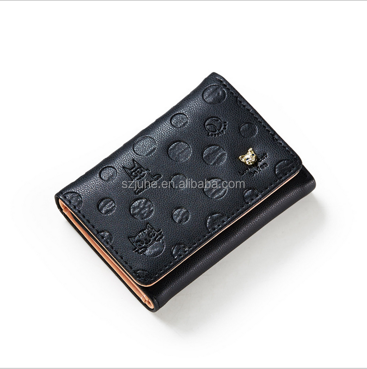 Holiday Promotion custom metal logo for pu handbags card holder lady wallet