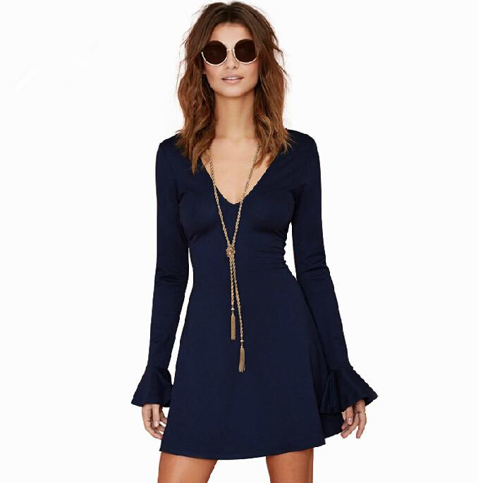 4c6b5696d9 Get Quotations · 2015 New long extension of the deep V-neck women drss  solid blue Jean dresses