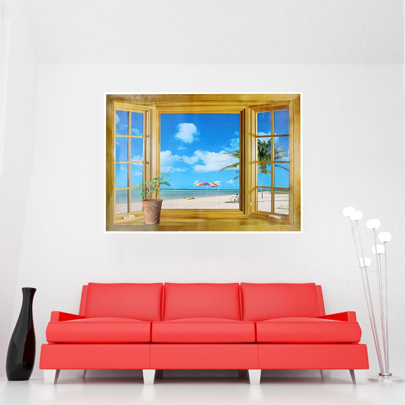 DIY Removable Beach Sea 3D Window Steroscopic Scenery Wall Sticker Home Decor Decals Mural Decal Exotic Beach View Wallpaper