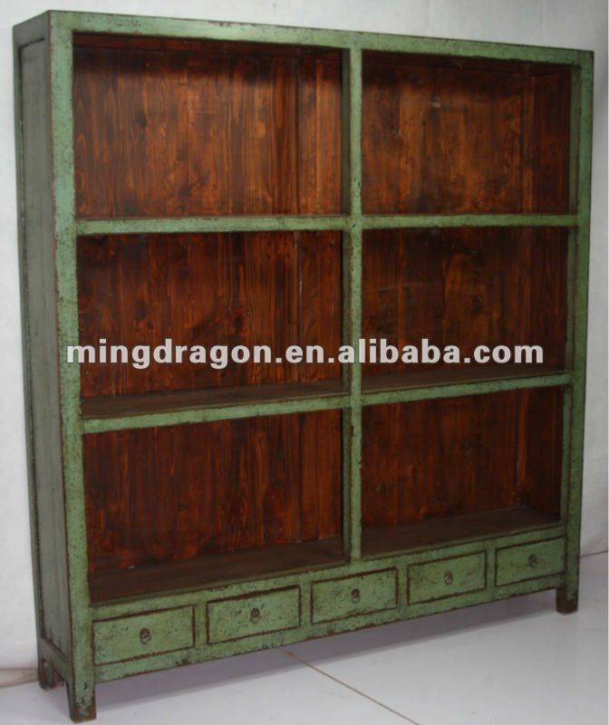 Chinese Five Drawer Antique Old Green Bookshelf