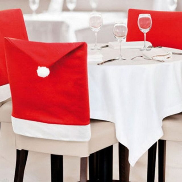 2016 Hort Santa Claus Hat Chair Covers <strong>Christmas</strong> Dinner Table Party <strong>Christmas</strong>
