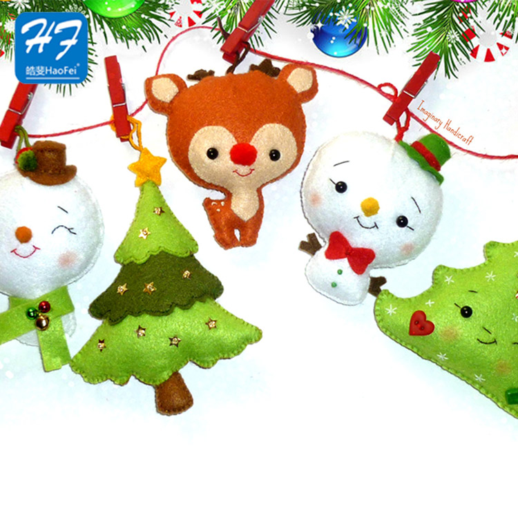 Hot Selling Custom Polyester Felt Decoration Christmas Tree Ornaments