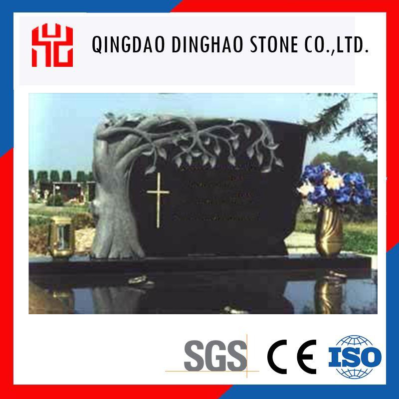 black granite carved tree headstone simple design