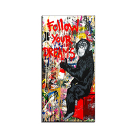 Follow Your Dreams Street Wall graffiti Art Canvas Paintings Abstract Einstein Art Canvas Prints For Kids Room Decor