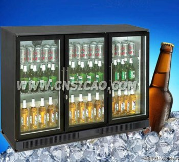 3 Glass Door Bottle Can Fridge For Beverage And Beer , Beer Bottle  Refrigerator With 298L