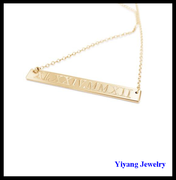 Gold Bar Pendant Necklace Saudi Gold Jewelry