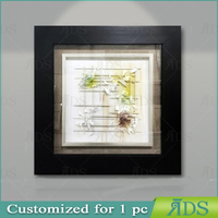 Framed handmade glass wall art balck shadow box