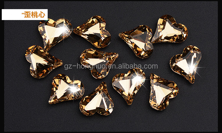 24Styles Heart Shaped 3D Metal Nail Art Decorations Crystal Glitter Rhinestone Charms HN1511