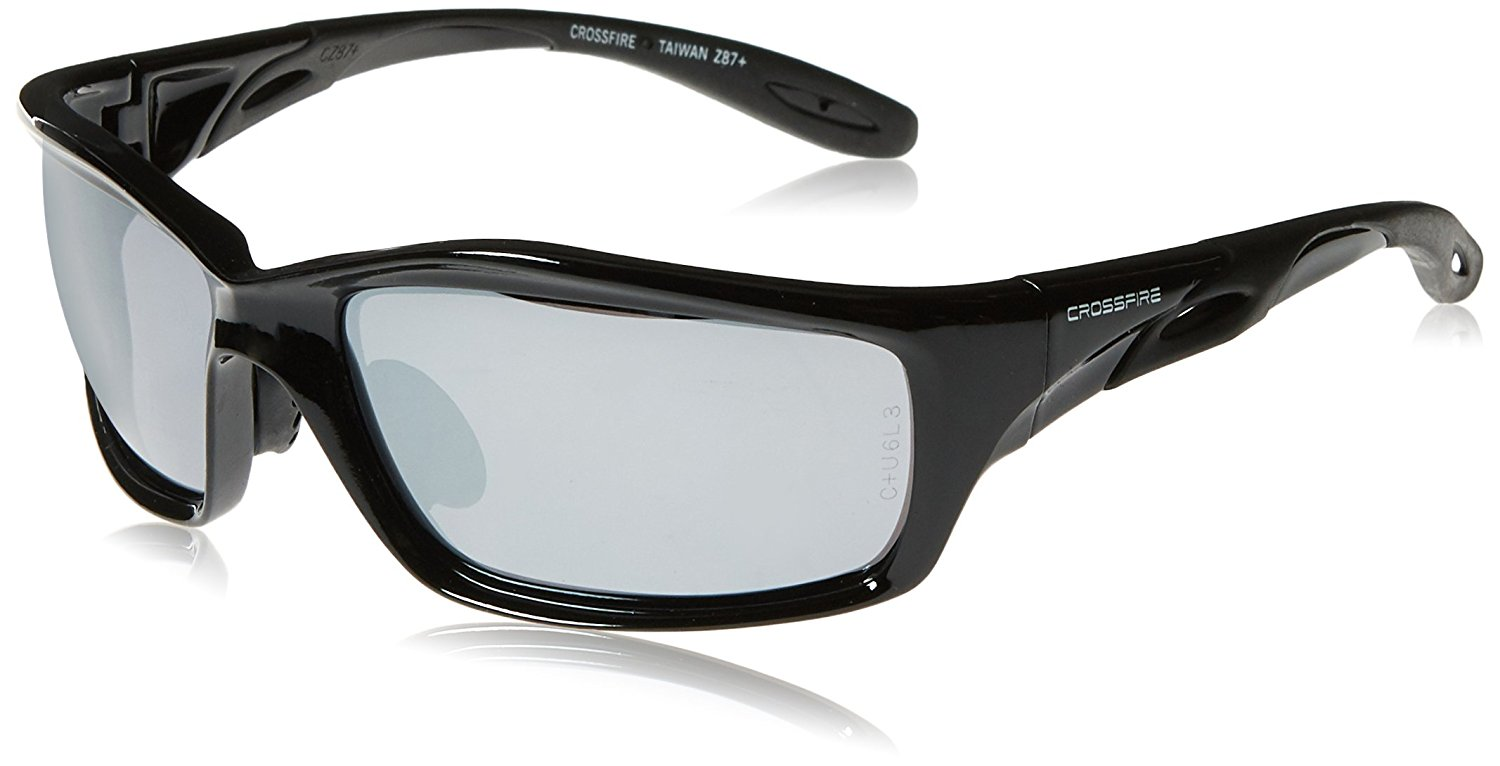 c5b97e6db0 Get Quotations · Crossfire 263 Infinity Safety Glasses Silver Mirror Lens -  Shiny Black Frame