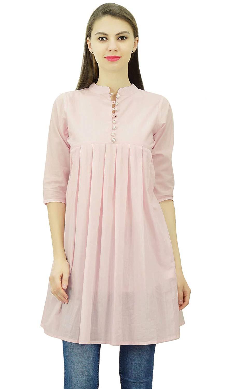 Women Cotton Pintex Pink Kurti Bollywood Indian Kurta Top Tunic Casual Ethnic Girls Long Kurti