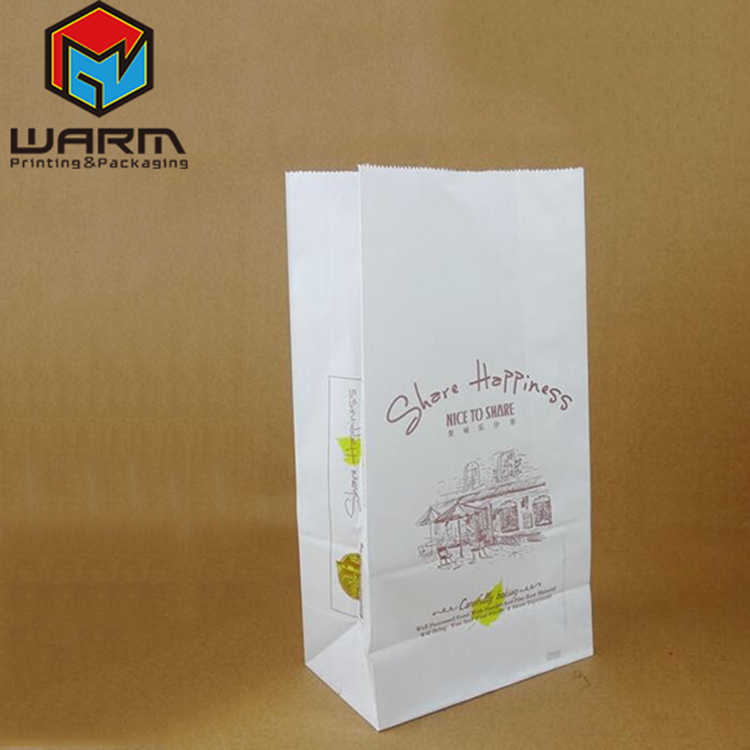 China Supplier Paper carrier bags white kraft paper takeaway party lunch food flat handles