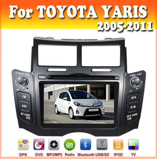 touch sreen car dvd with GPS Navigation for TOYOTA YARIS 2005-2011 black color car audio radio bluetooth ipod usb/sd car dvd gps