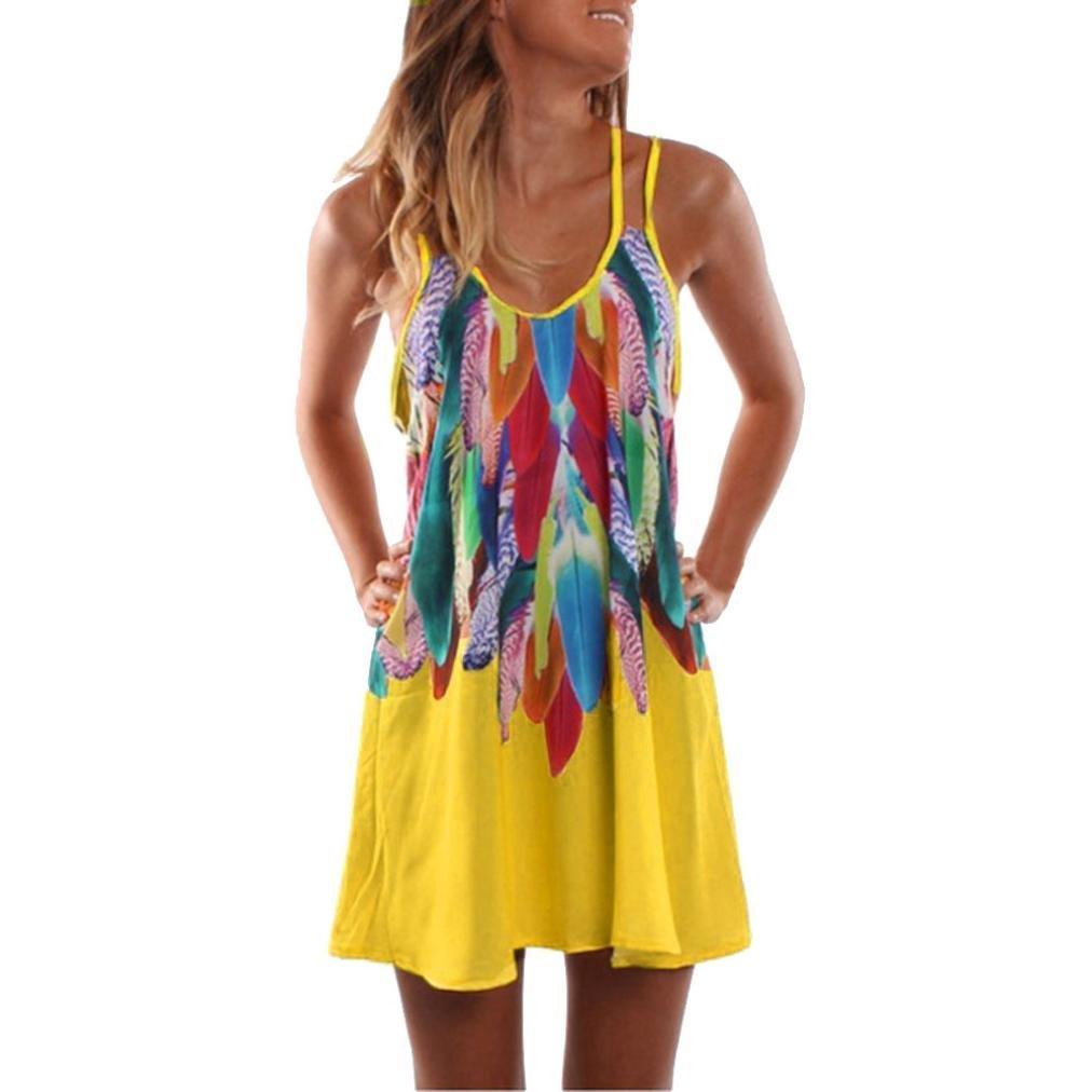 92ea260d1 Get Quotations · Hemlock Teen Dress Skirts Colorful Printed Beach Sundress  Women Summer Maxi Boho Dress (XL