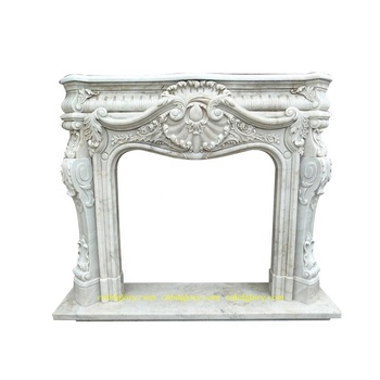 Popular Design stone Carved Hunan White Marble Fireplace