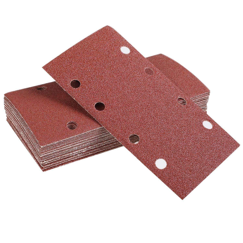 SODIAL 25 Pcs Sanding Pads,Sanding Paper Hook and Loop Sand Sheet 93x185mm Punched 8 Holes Grits 40/60/80/120 Fit Sheet Orbital Sander Multi-Sander Aluminum Oxide Grain