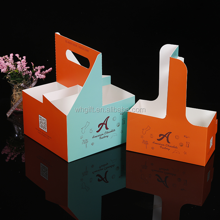 Environmentally friendly Disposable Paper Take Out 4 Coffee Cup Drink Carrier /4 coffee cup holder