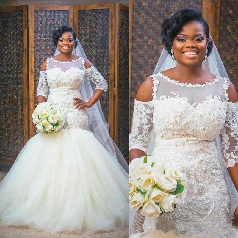 Zh3146g South African 3 4 Long Sleeves Mermaid Wedding Dresses Plus