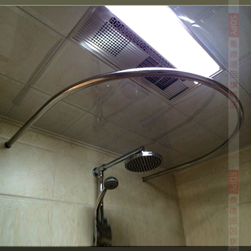 Thick 304 Stainless Steel U Shaped Round Corner Shower