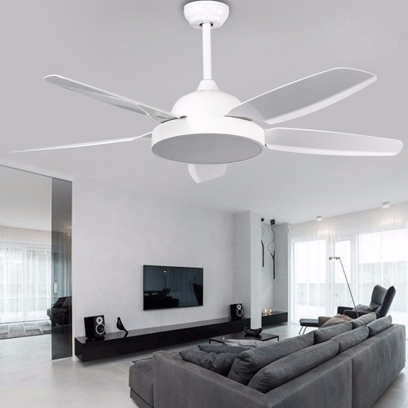 Living Room 5 Leaf White Fan Chandelier