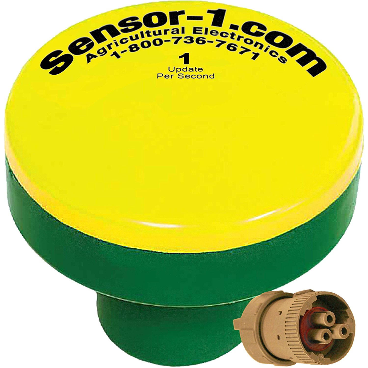 Sensor-1 DS-GPSM-TJ8551-Y/G 1 Hz GPS Speed Sensor, Yellow Top and Green Stem Housing with Tee-Jet 855 Connector