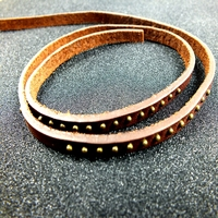 High quality 2mm-5mm thick flat leather strips with rivet for bracelet