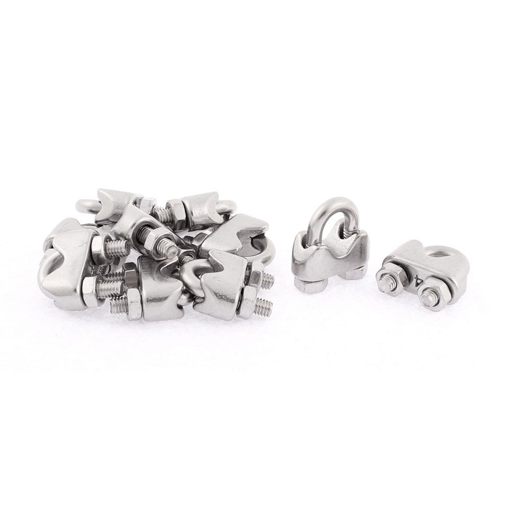Mandydov M4 Pack of 20pcs 4mm 5/32 Inch 304 Stainless Steel Wire Rope Cable Clamp