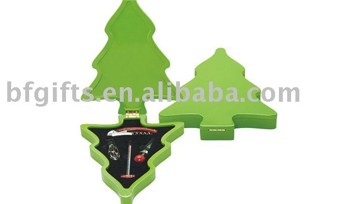 Wooden chrismas tree wine box,wine accrseeories:BF10171