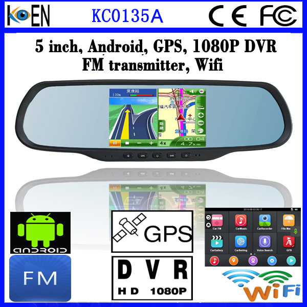 2016 New Android DVR Rearview Mirror GPS Car Navigation System With World Map Mirror