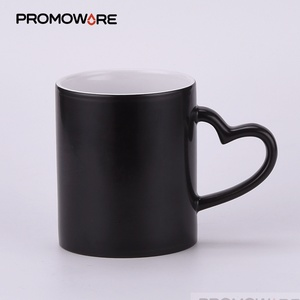 Wholesale 11 oz Cheap Plain Black Hot Cold Coffee Mug When Heated Colour Water Photo Color Change Coffee Mug with handle