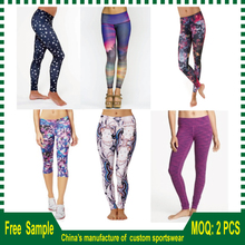 custom made sublimation colorful women wearing long tight yoga pants, wholesale tight yoga legging
