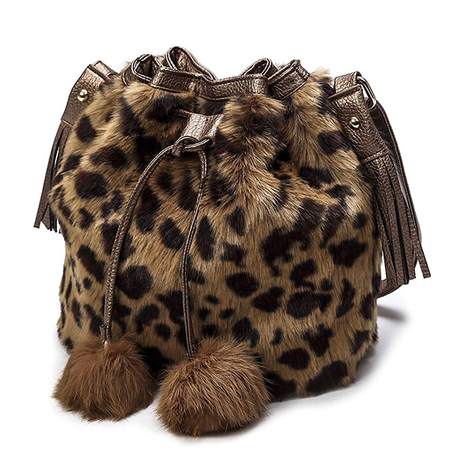 Get Quotations · QZUnique Women s Faux Fur Bucket Bag Drawstring Shoulder  Bag Crossbody Bag with Pompon 684f82902d1cc