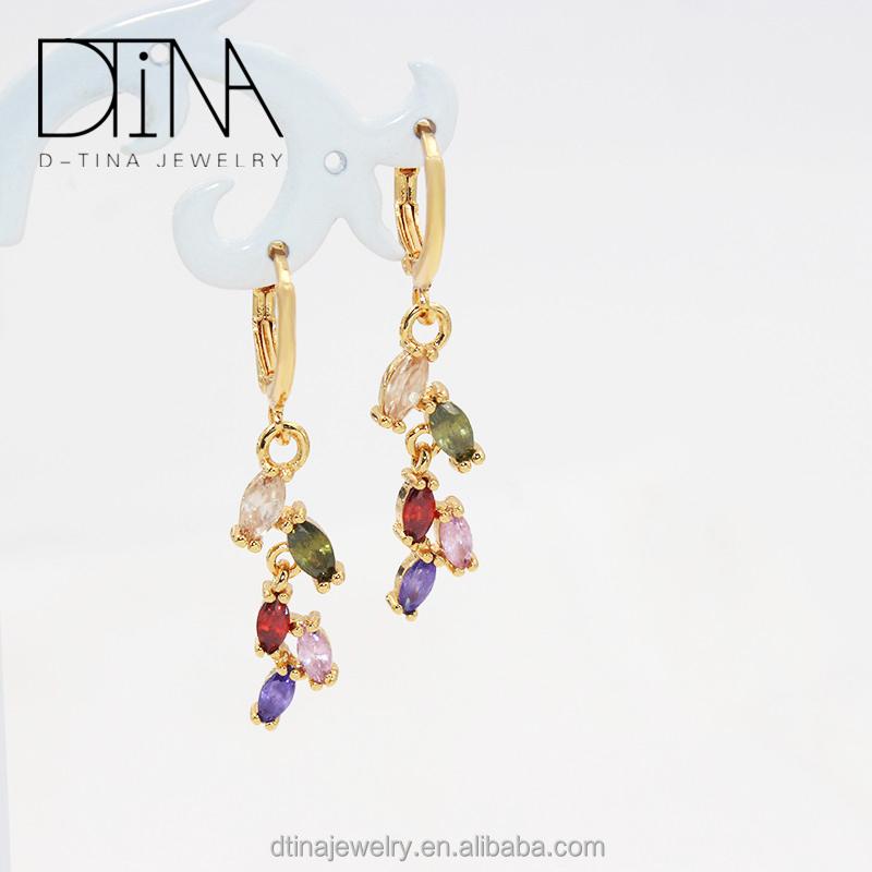 DTINA 18k gold plated women long earrings fashion gem earring, Golden