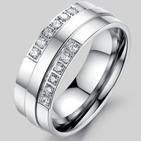 Fashion Custom 316l Stainless Steel Gemstone Pave Setting Wide Band Pave Diamond Stone Ring Designs for Men