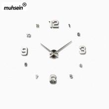 2016 New fashion 3D big size wall clock mirror sticker DIY wall clocks home decoration wall clock meetting room wall clock