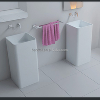 composite artificial quartz narrow rectangular bathroom sink