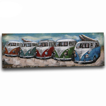 Unique WV Retro 5 Bus & Beach Handcrafted Oil Painting Modern Sculpture Indoor 3D Metal Wall Art Seven Art Picture Decor