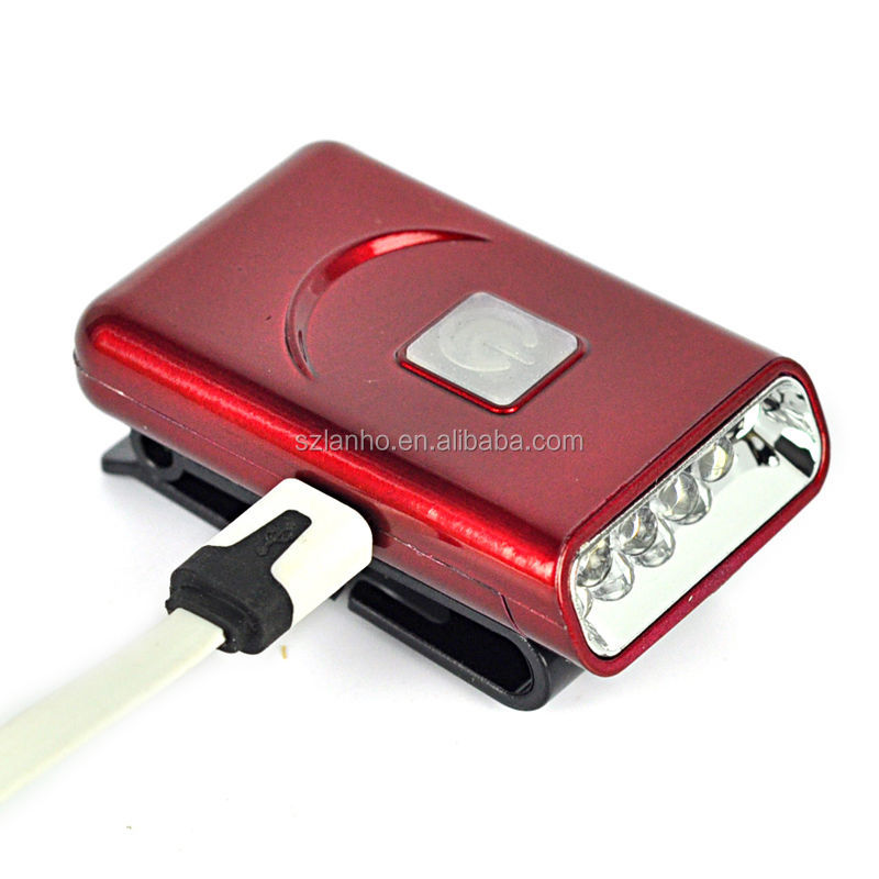 Rechargeable 5 LED Infrared Sensors Head Cap Hat Lamp Light USB Headlamp Torches
