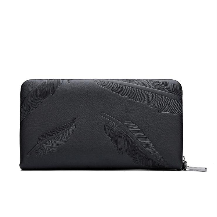Great quality Men Fashion <strong>Leather</strong> <strong>Clutch</strong> Bag Long Wallet Business <strong>Clutch</strong> With Double Zipper