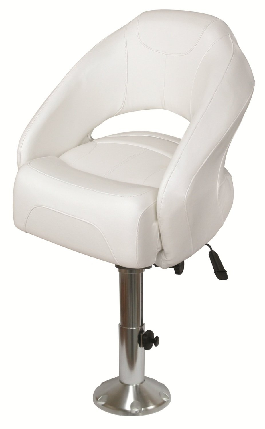 Wise 8WD1217-6-784 Razor Style Flip-Up Bolster Bucket Seat with Adjustable Height Pedestal and Seat Slide, White