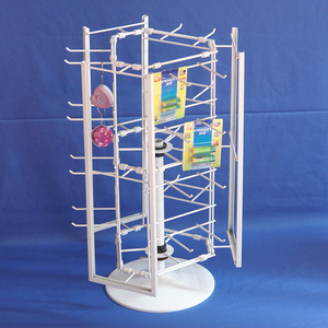 counter stand metal wire rack prong pegs spinning battery hanging display fixture
