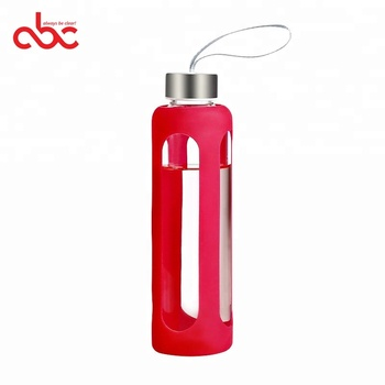 550ml High Borosilicate Glass  Water Bottle with Silicone Sleeve