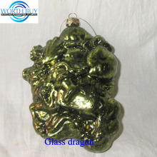 Vintage green glass dragon hanging ornament for Christmas or Chinese new year