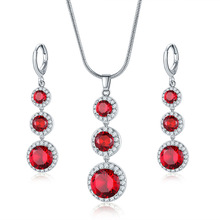 Colorful Austrian Red Crystal Round Cut Zircon Ruby Long Chain Necklace And Earrings Set Women Bridal Jewelry Set