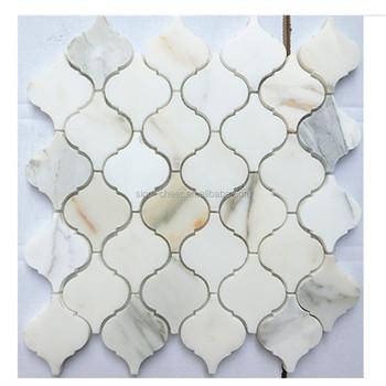 Honed Calacatta Gold Marble 3 Arabesque Mosaic Tile