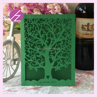 Sell Well Tree Design Laser Cut Card/Luxury Wedding Card/Personalized Unique Business Cards Green color QJ-31