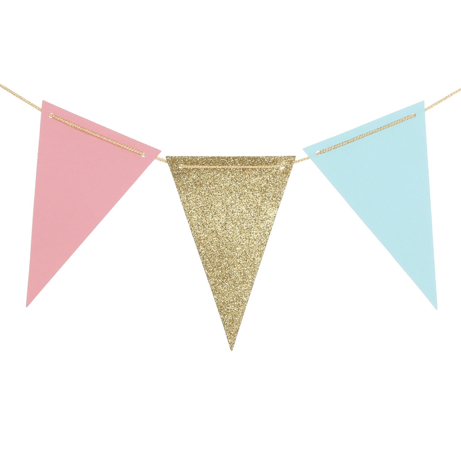 Ling's Moment 10 Feet Paper Pennant Banner Triangle Garland Vintage Glitter Gold Pink Blue Flag Banner for Gender Reveal, Wedding, Baby Shower, Bridal Shower, Event & Party Supplies, 15pcs Flags