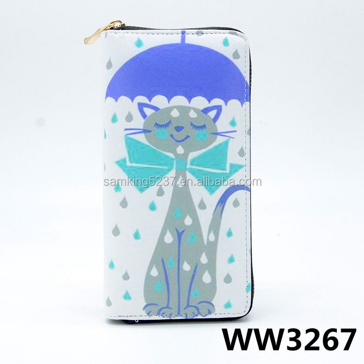 Lovely PU Leather Zipper Ladies Long Size Fancy Handy Coin Purses With Cat Print Design